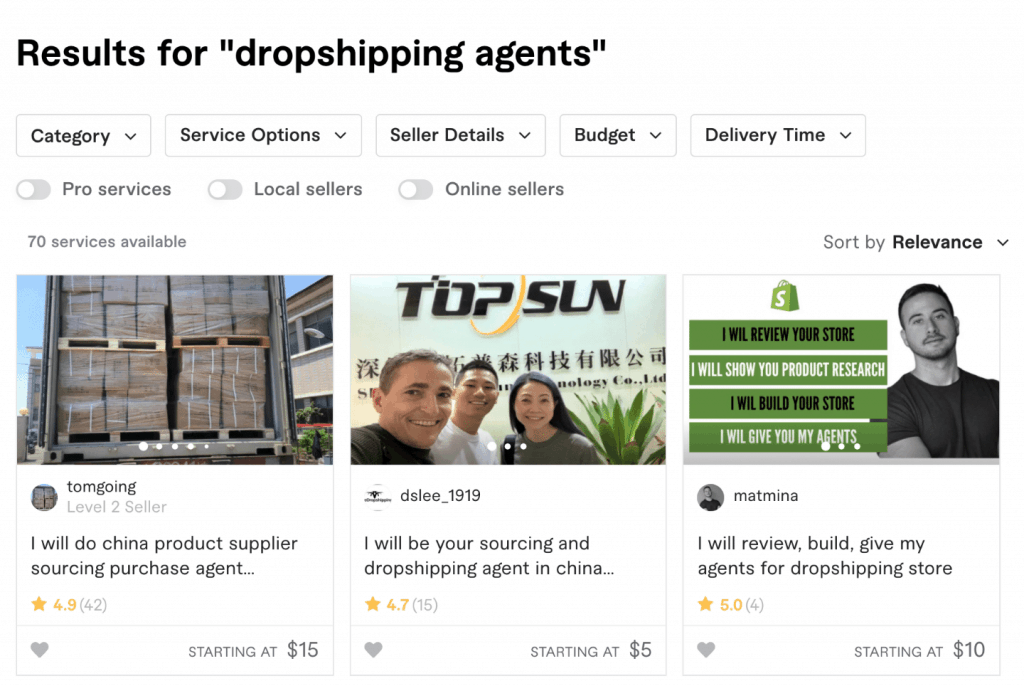 fiverr dropshipping agent