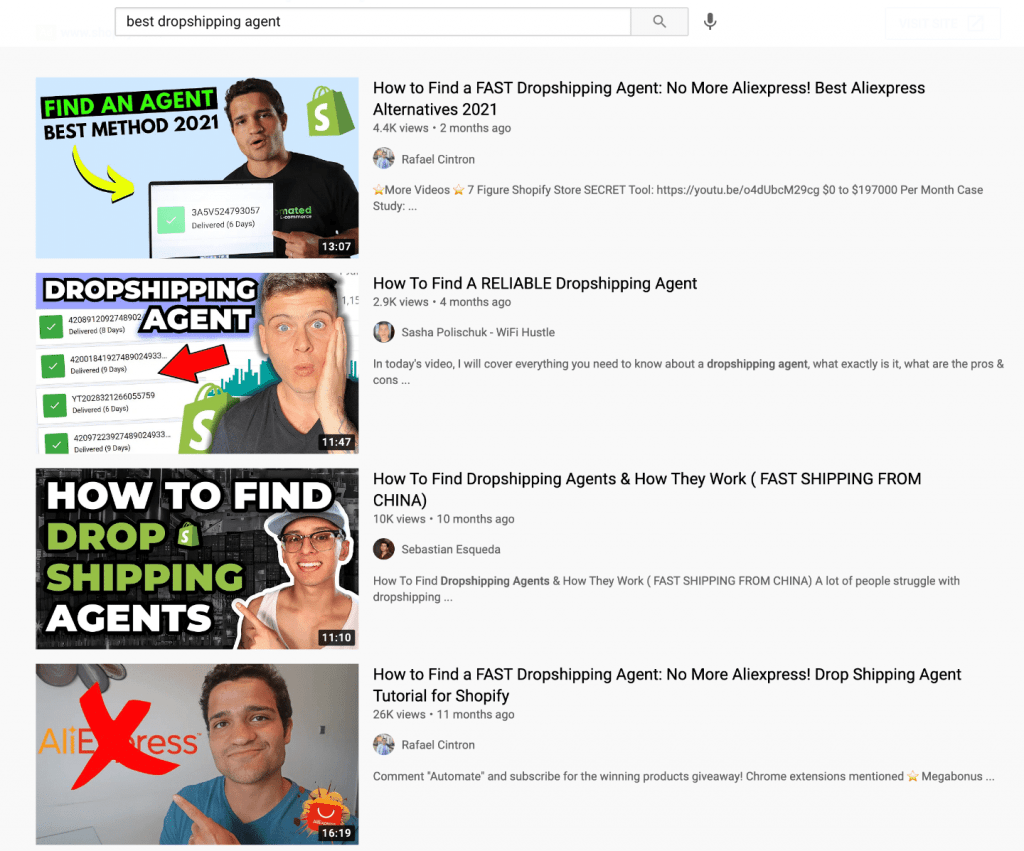 youtube dropshipping agent